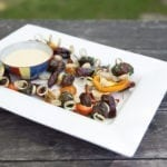 Cedar Smoked Garlic and Peppers with White Anchovy Skewers