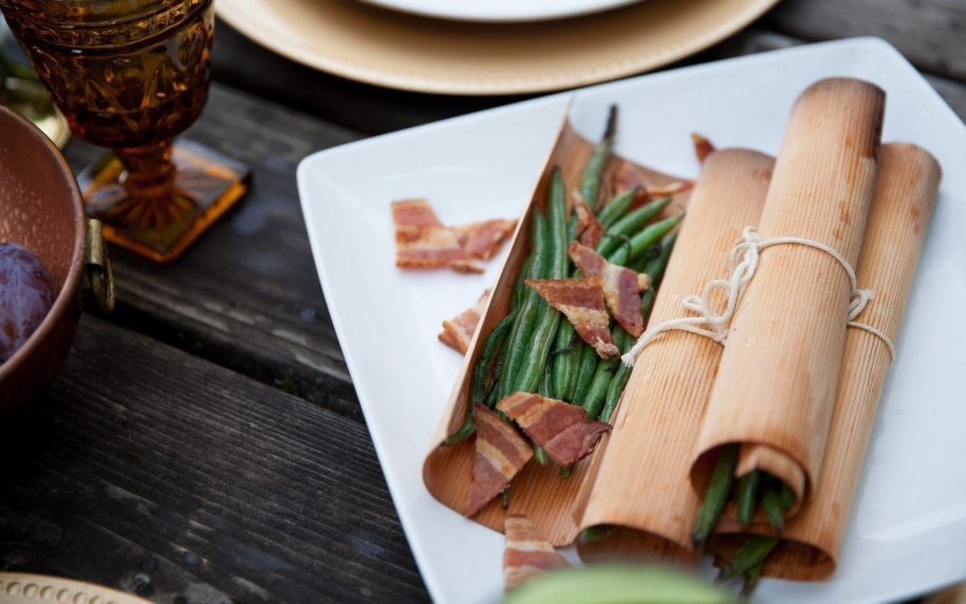 Cedar Wrapped Green Beans with Sage and Bacon