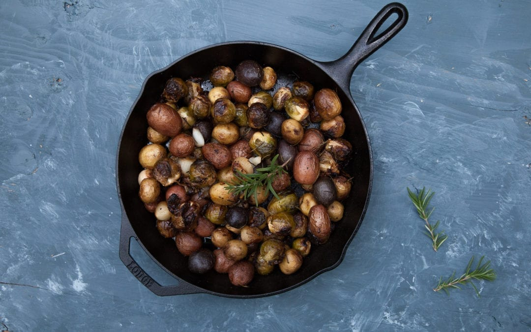 Skillet Roasted Potatoes with Brussel Sprouts