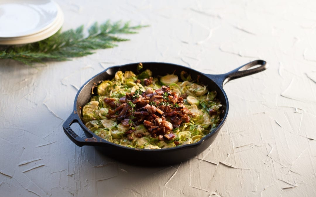 Brussel Sprout Gratin with Bacon and Smoked Dates