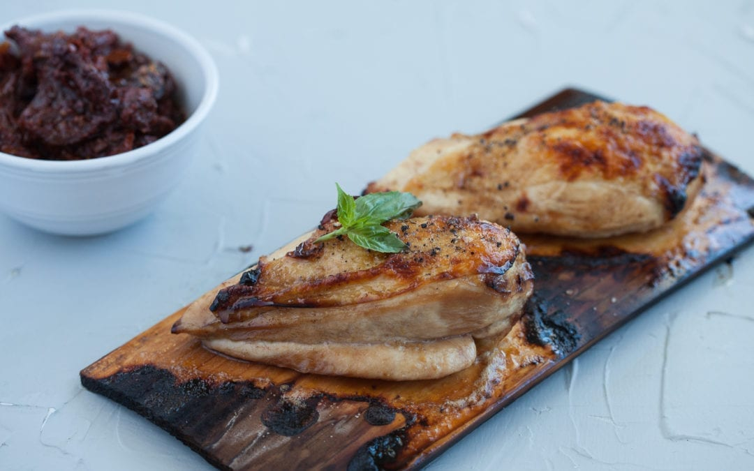 Cedar Planked and Balsamic Marinated Chicken with Sundried Tomato and Basil