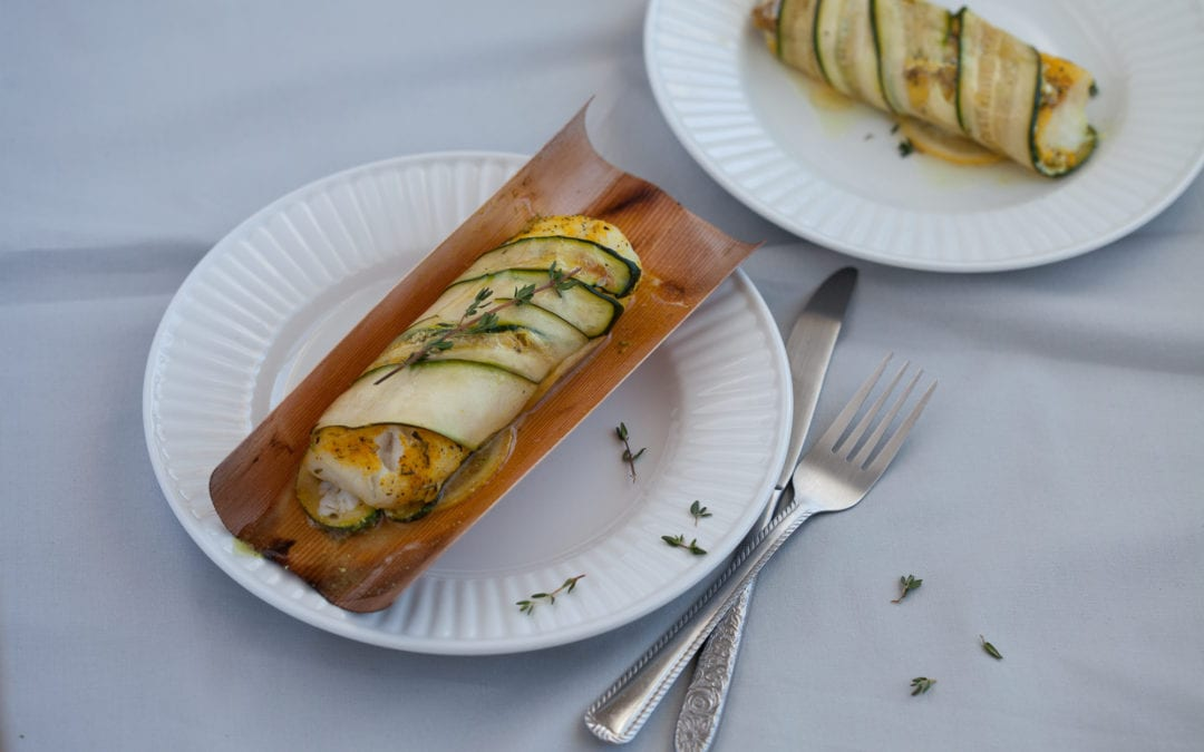 Cedar and Zucchini Wrapped Cod Loin with Turmeric and Lemon