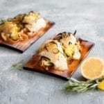 Cedar Planked Halibut Cheeks with Leeks, Lemon and Tarragon