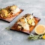 Cedar Planked Halibut Cheeks with Leeks, Lemon and Tarragon