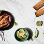 Cedar wrapped Jumbo Shrimp with Tequila, Jalapeño, and Lime