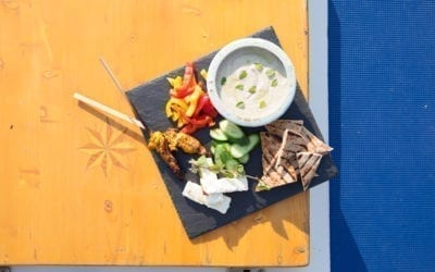 Maple Smoked Feta with White Bean and Herb Dip