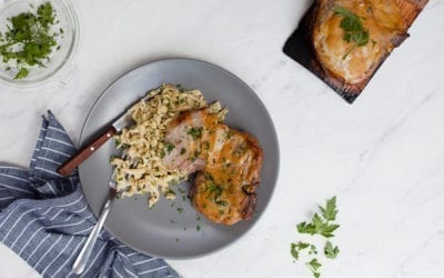 Red Oak Planked Pork Chops with Spaetzle