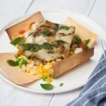 Grilled Cod with Cedar Wrapped Succotash and Garden Pesto