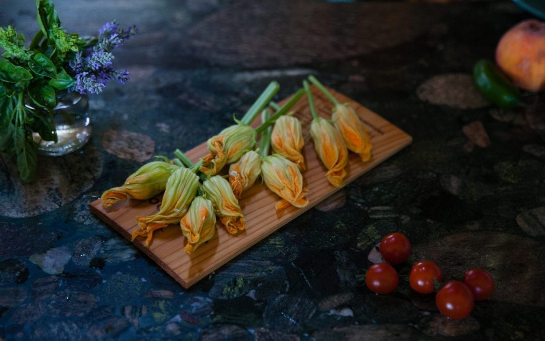 Maple Planked Squash Blossoms with Herbed Ricotta