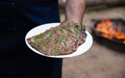 Fire Roasted Flank Steak with Chimichurri