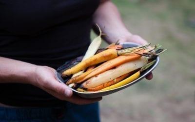 Cedar Wrapped Rainbow Carrots with Rosemary