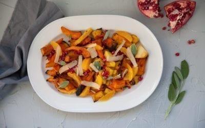 Red Oak Planked Squash & Pomegranate Salad