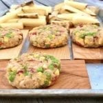 Cedar Planked Cannellini Burgers and Grill Fries