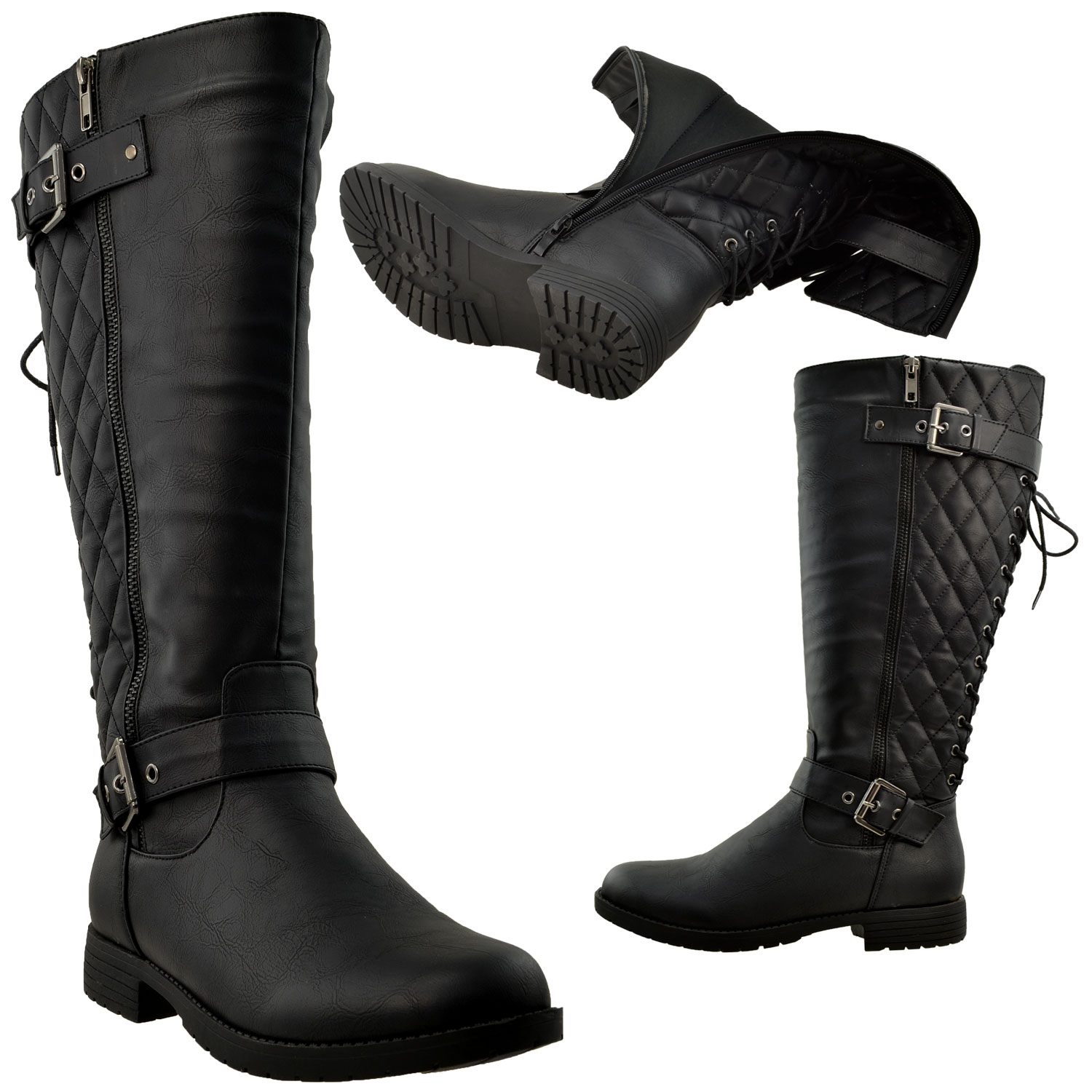 e8c10a5aa8b Details about Womens Knee High Boots Quilted Back Lace Up Adjustable Strap  Shoes Black