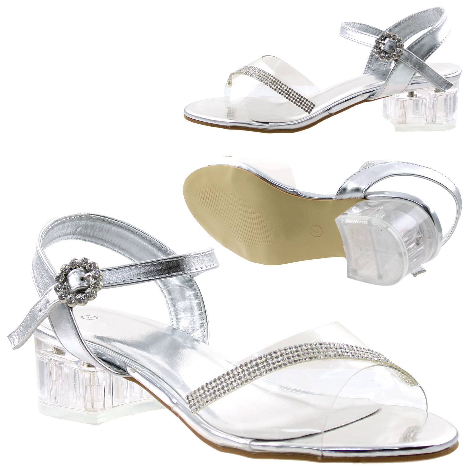 1bbf6d6bc71 Details about Girls Rhinestone Block Heel Ankle Strap Dress Sandals Silver