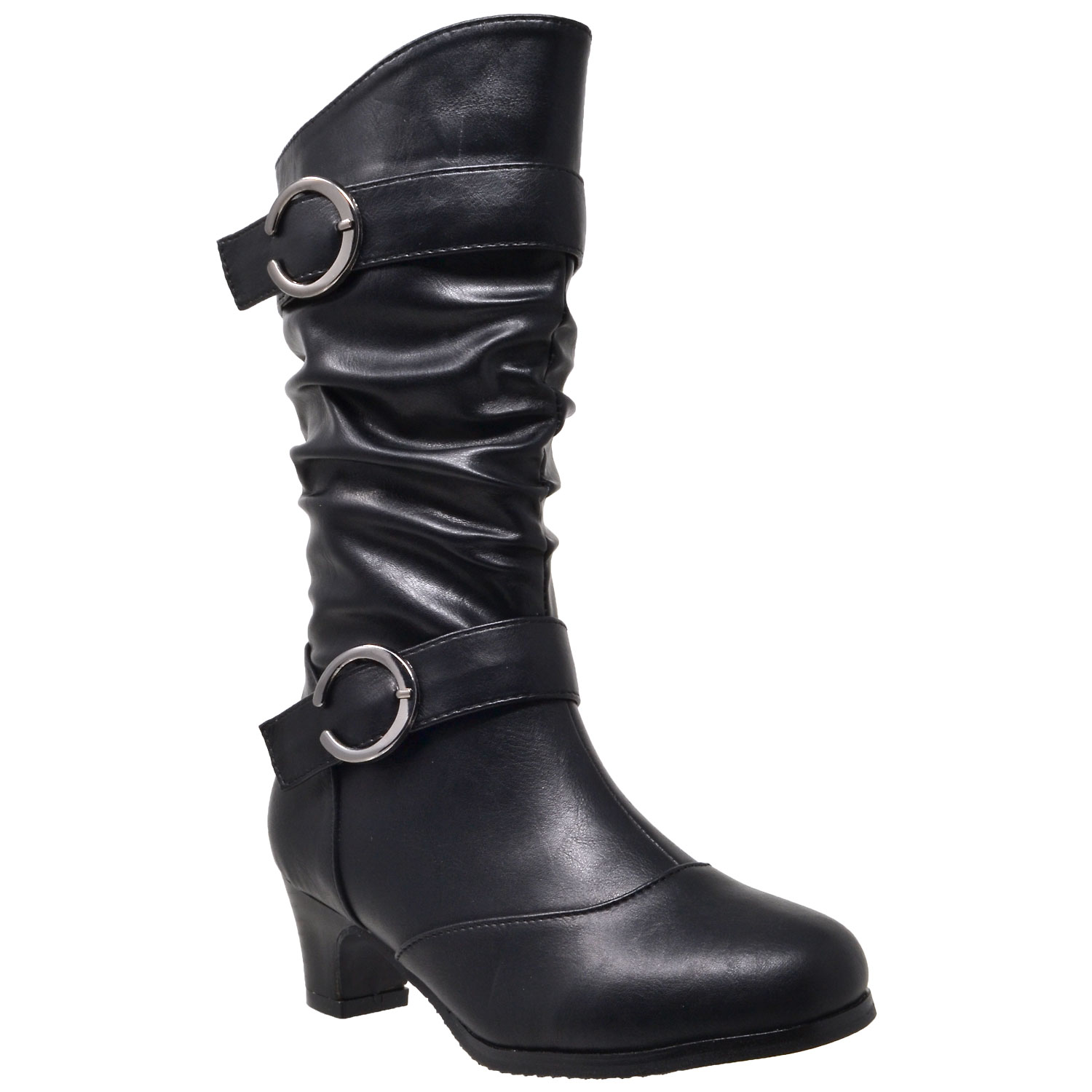 ed533e0c3779 Details about Kids Mid Calf Boots Double Buckle Zip Close High Heel Shoes  Black