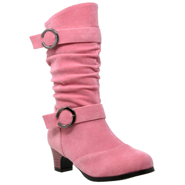 9d9510b0e43c8 Kids Mid Calf Boots Double Buckle Zip Close High Heel Shoes Gray ...
