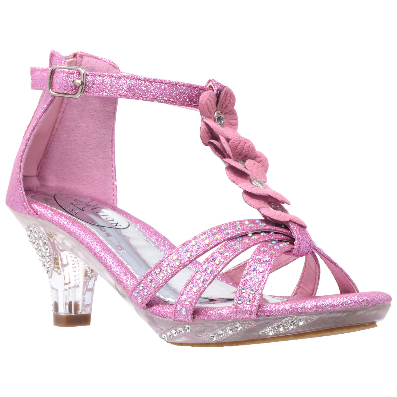 Kids Dress Sandals T Strap Flower Glitter Rhinestone Clear High