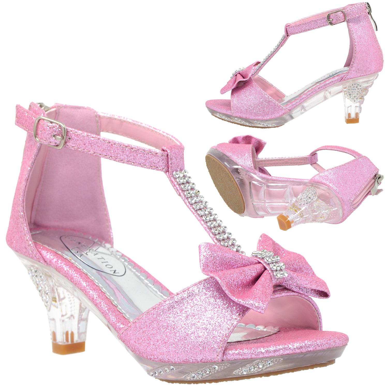 365bc6999f5 Pink Kids Dress Sandals T-Strap Bow Rhinestone Glitter Clear Heels ...