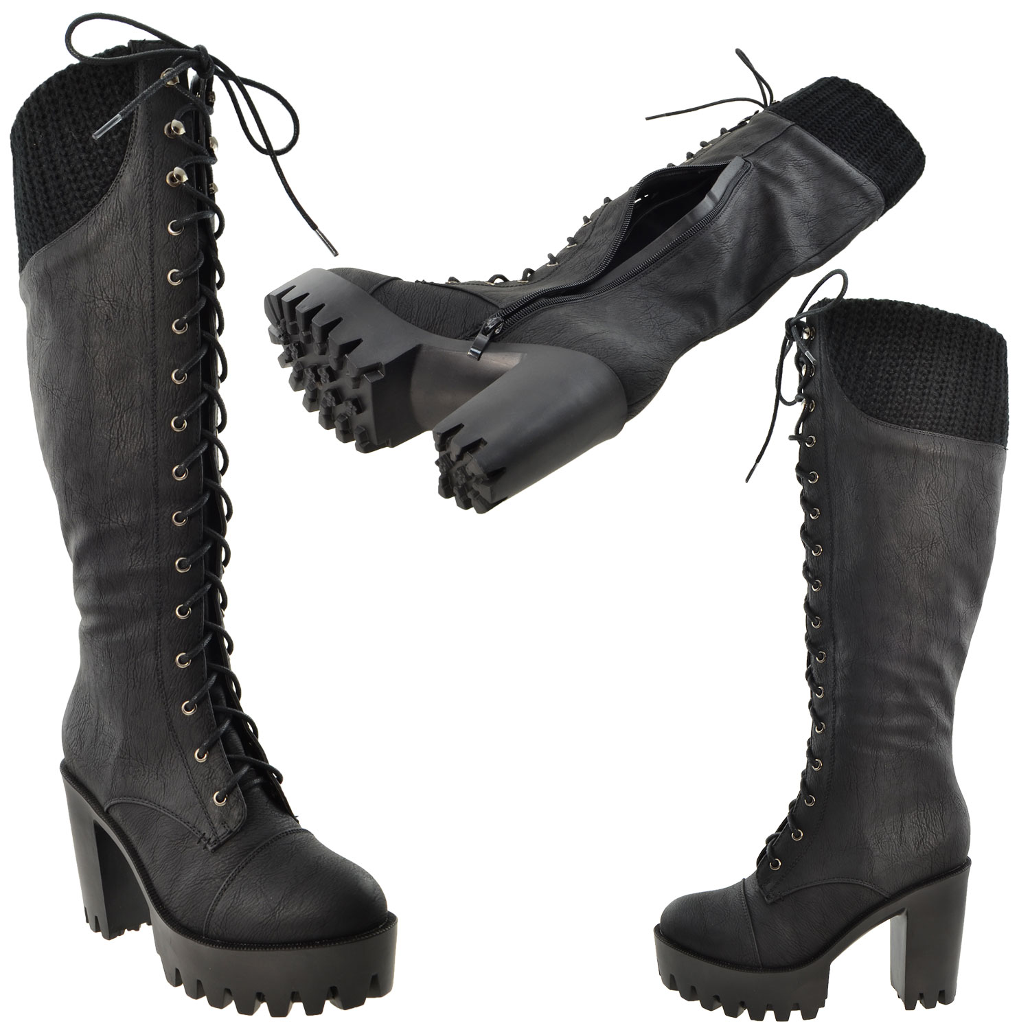 womens knee high boots lace up combat leather high heel
