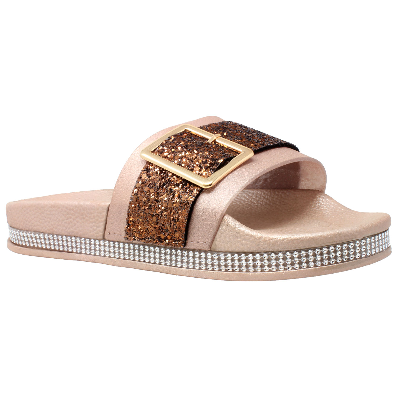 5a79ee5e08a Details about Womens Platform Sandals Glitter Buckle Rhinestone Slip On  Flatform Slide