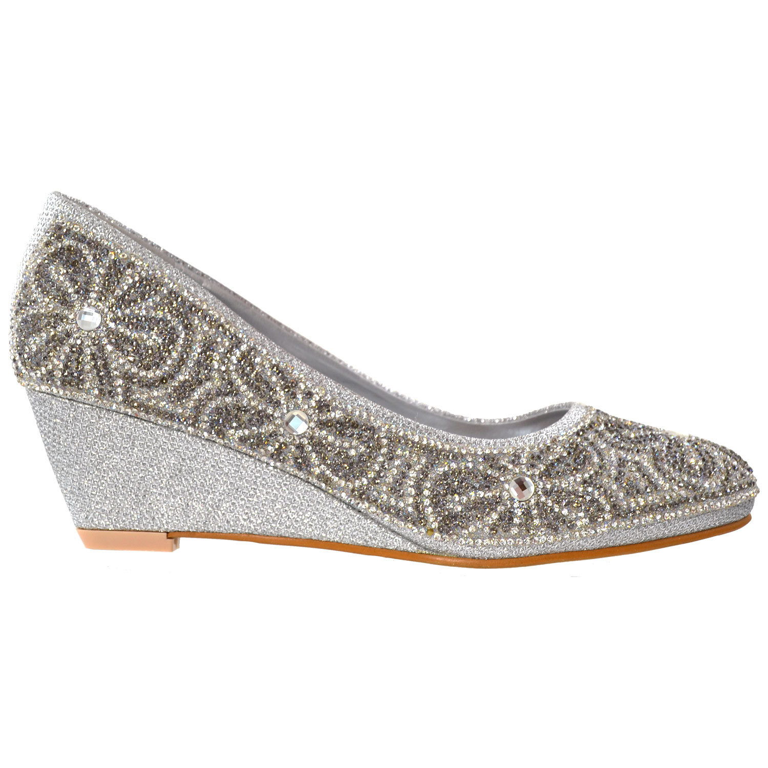 776588cdd9dd Details about Pumps Dress Shoes Slip On Wedge Floral Print Rhinestone Women s  Silver Shoes