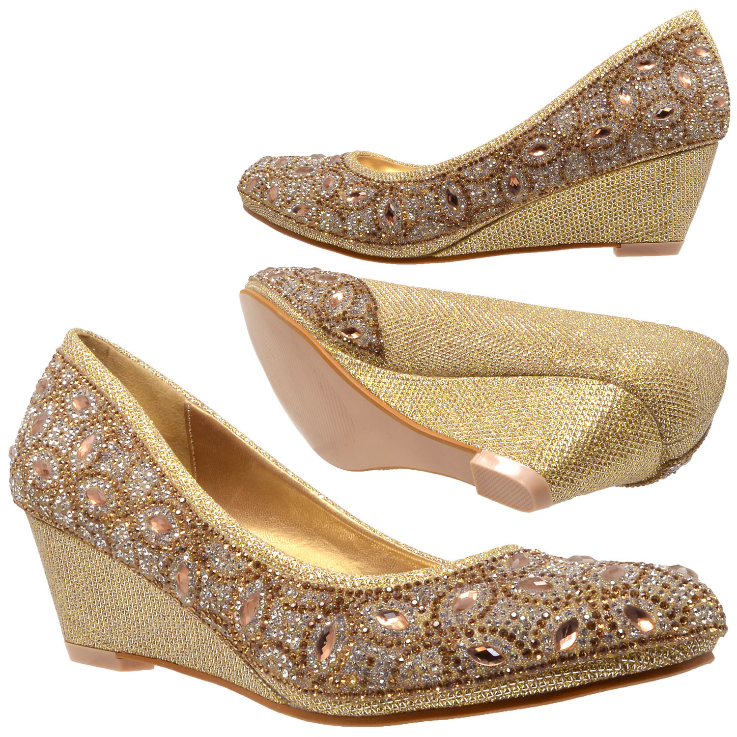 4643bfa8225b54 Details about Womens Dress Shoes Slip On Wedge Pumps Rhinestone Jewel High  Heels Gold