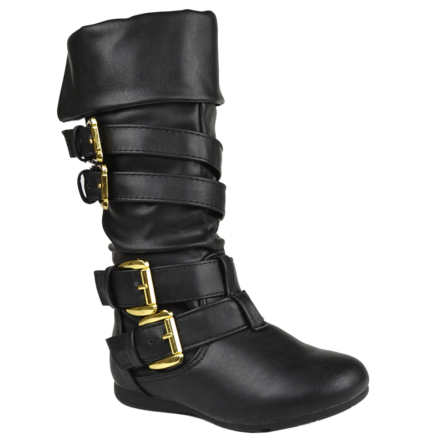 Black Faux Leather Slip On Buckles Girls Mid-Calf Boots Kids Shoes Youth Size 9