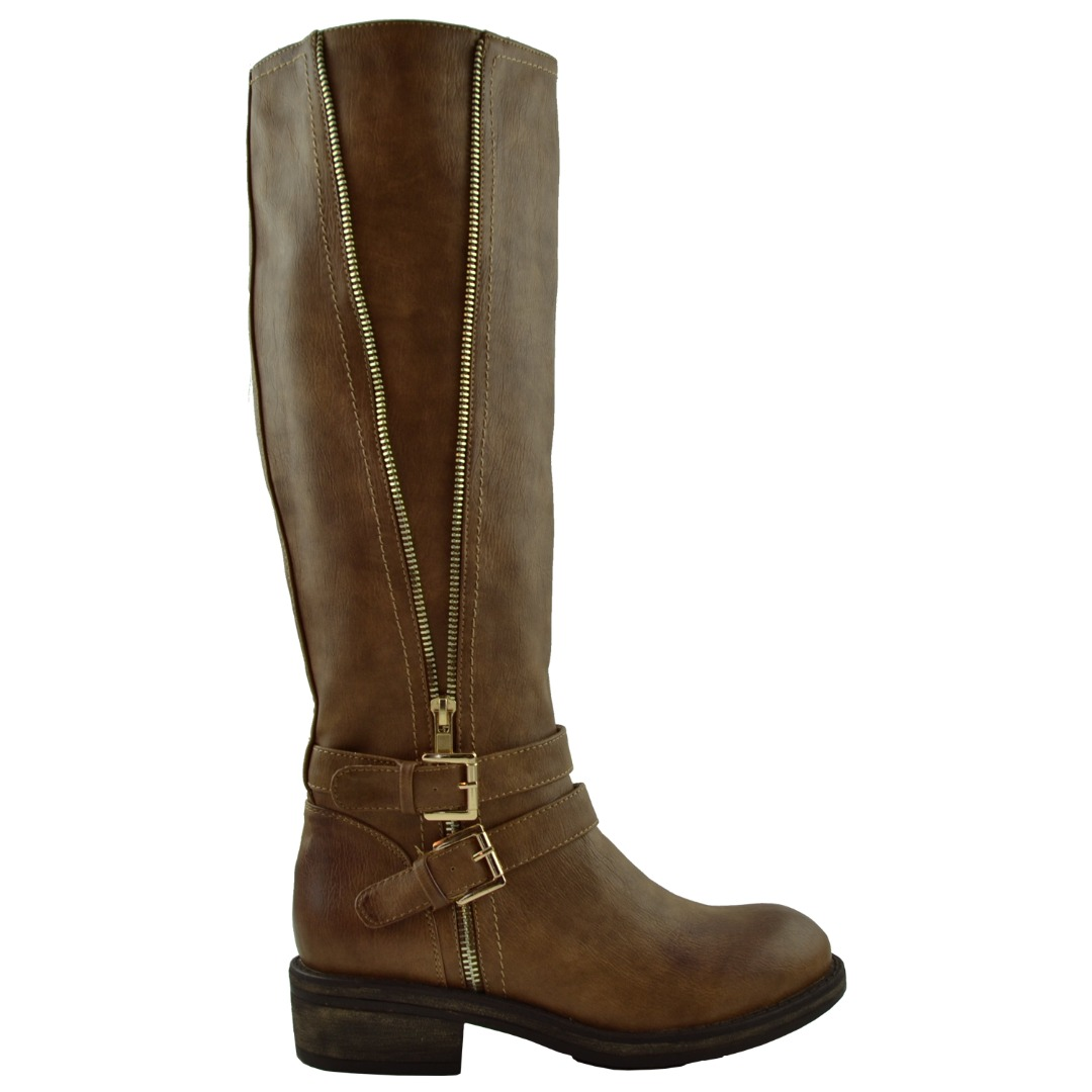 Women Zipper Trim Knee High Riding Boots W Vintage Buckle