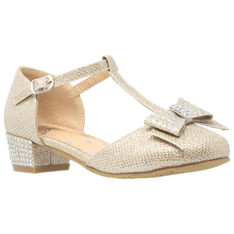 Kids Dress Shoes Glitter Rhinestone Low Heel Mary Jane Pumps Gold