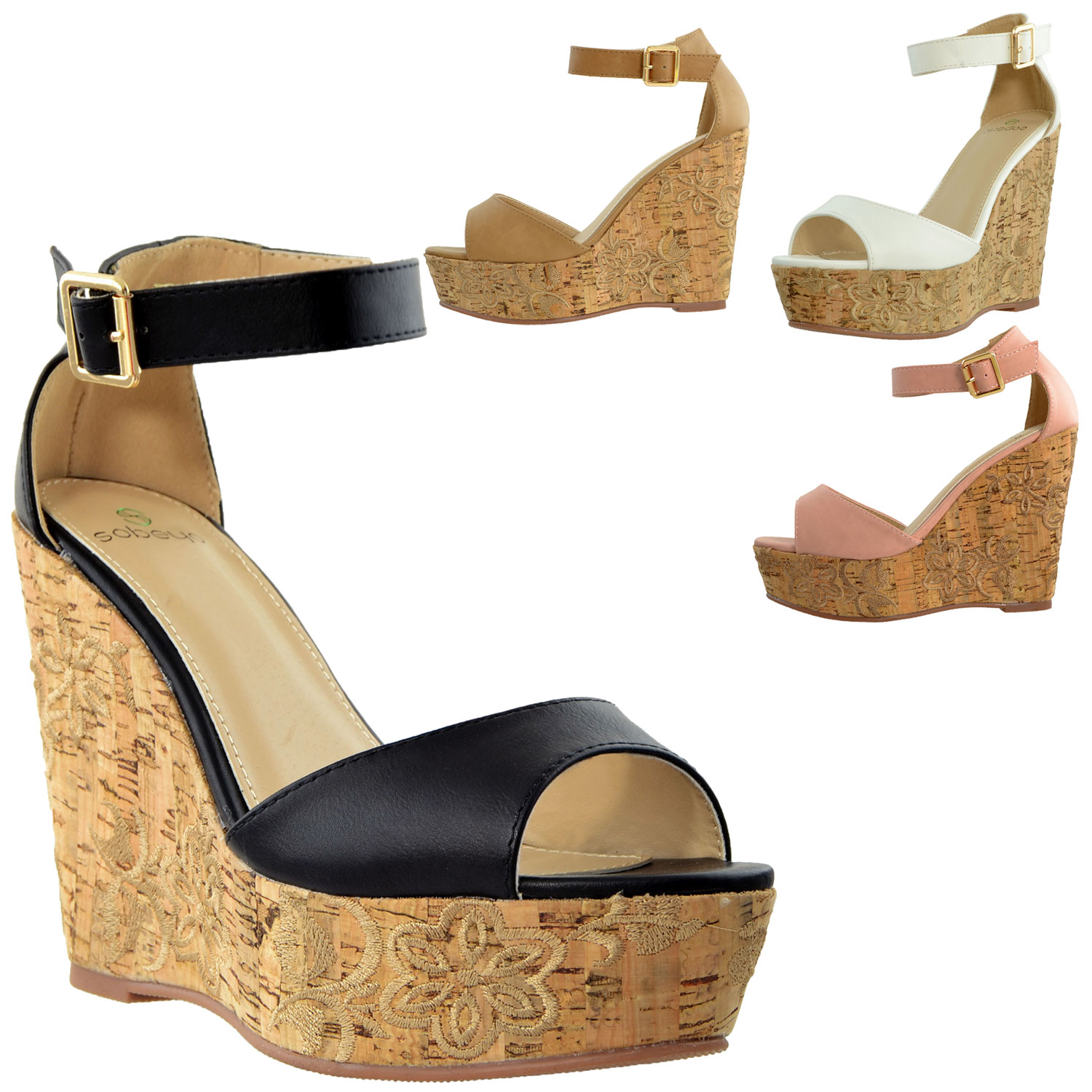 f9ae76a59e4b Details about Womens Platform Sandals Ankle Strap Embroidered Cork Heel  Wedges Tan