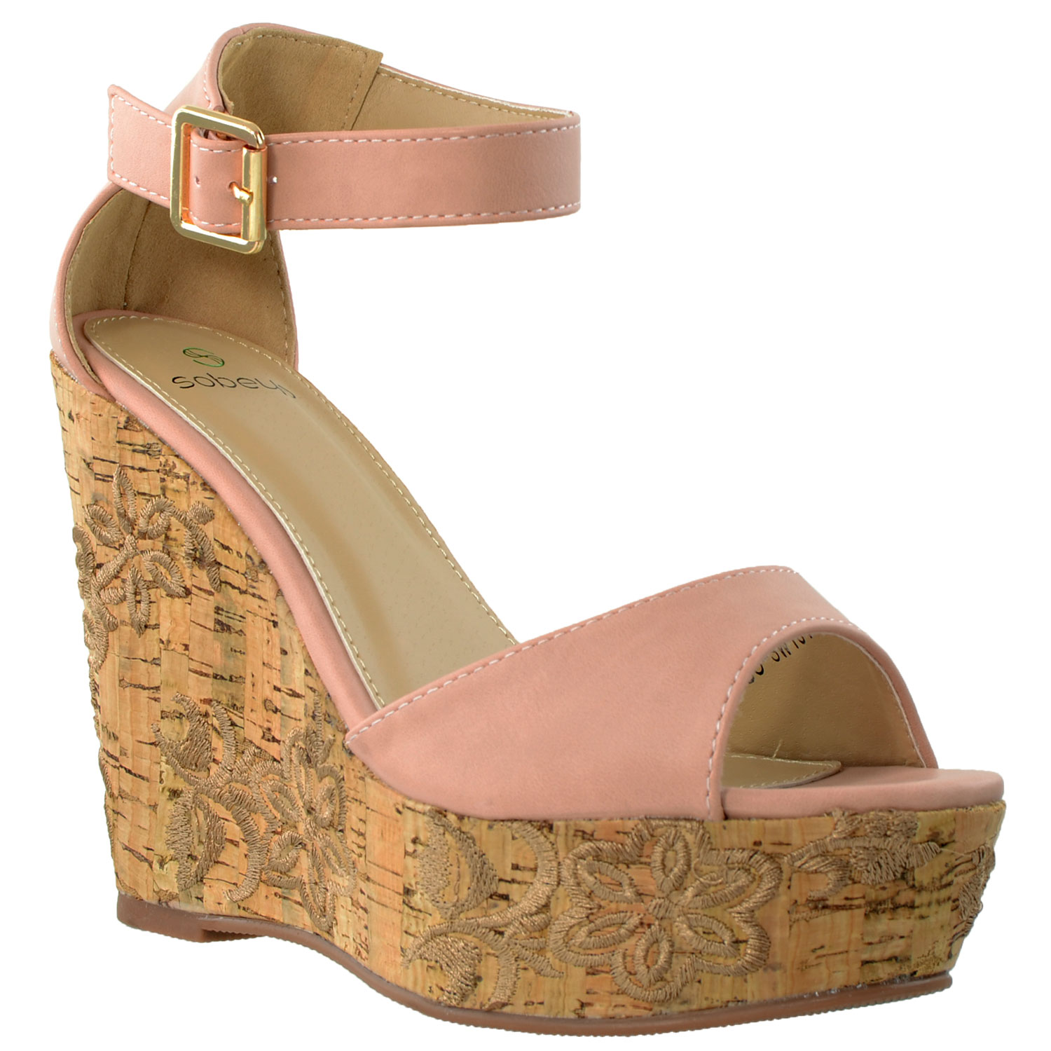 3fa39ebf0f51 Details about Womens Platform Sandals Ankle Strap Embroidered Cork Heel  Wedges PINK