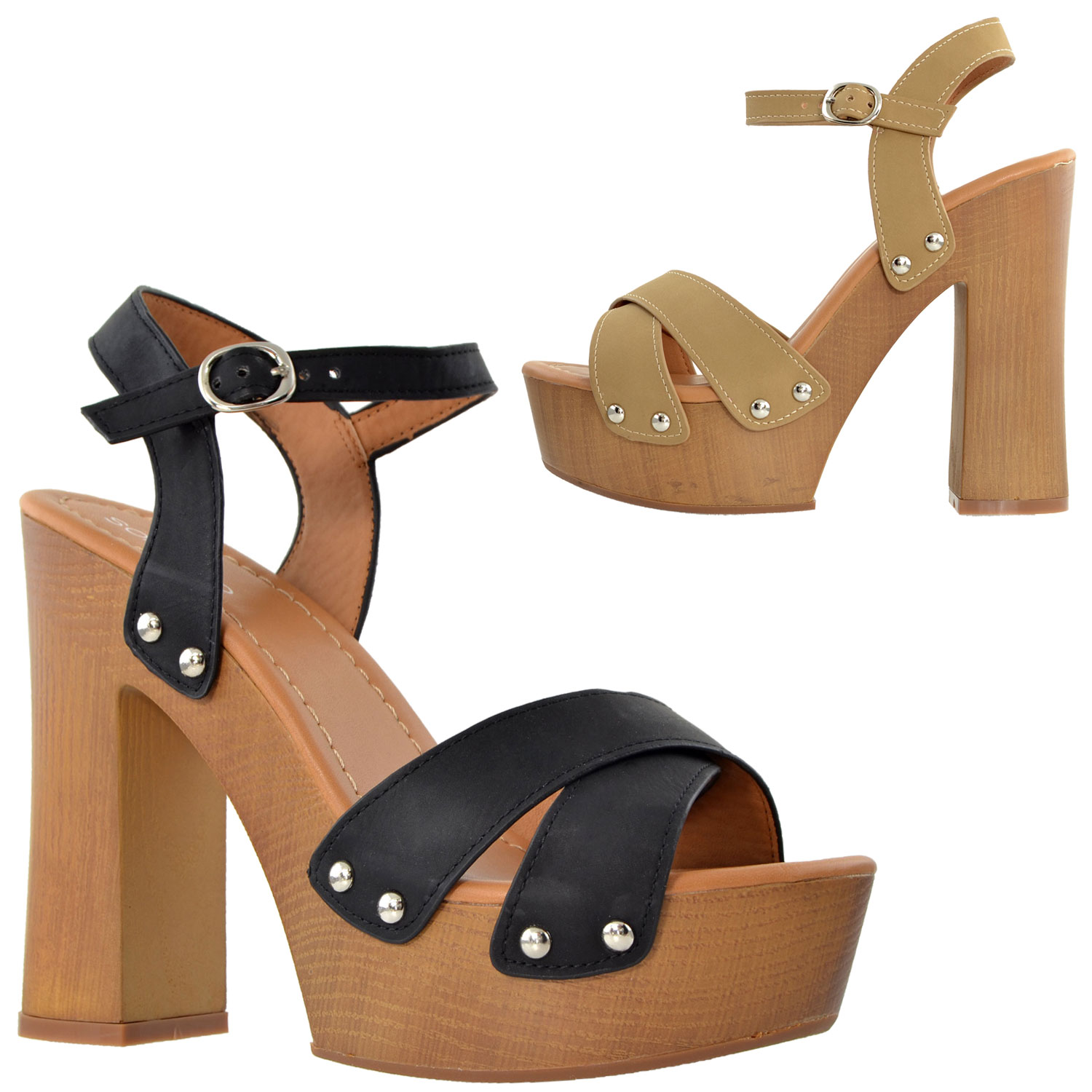 136998095a5 Womens Platform Sandals Ankle Strap Studded Wood Chunky High Heel ...