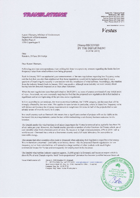WindAction | Letter from Vestas: Low-frequency noise and wind turbines