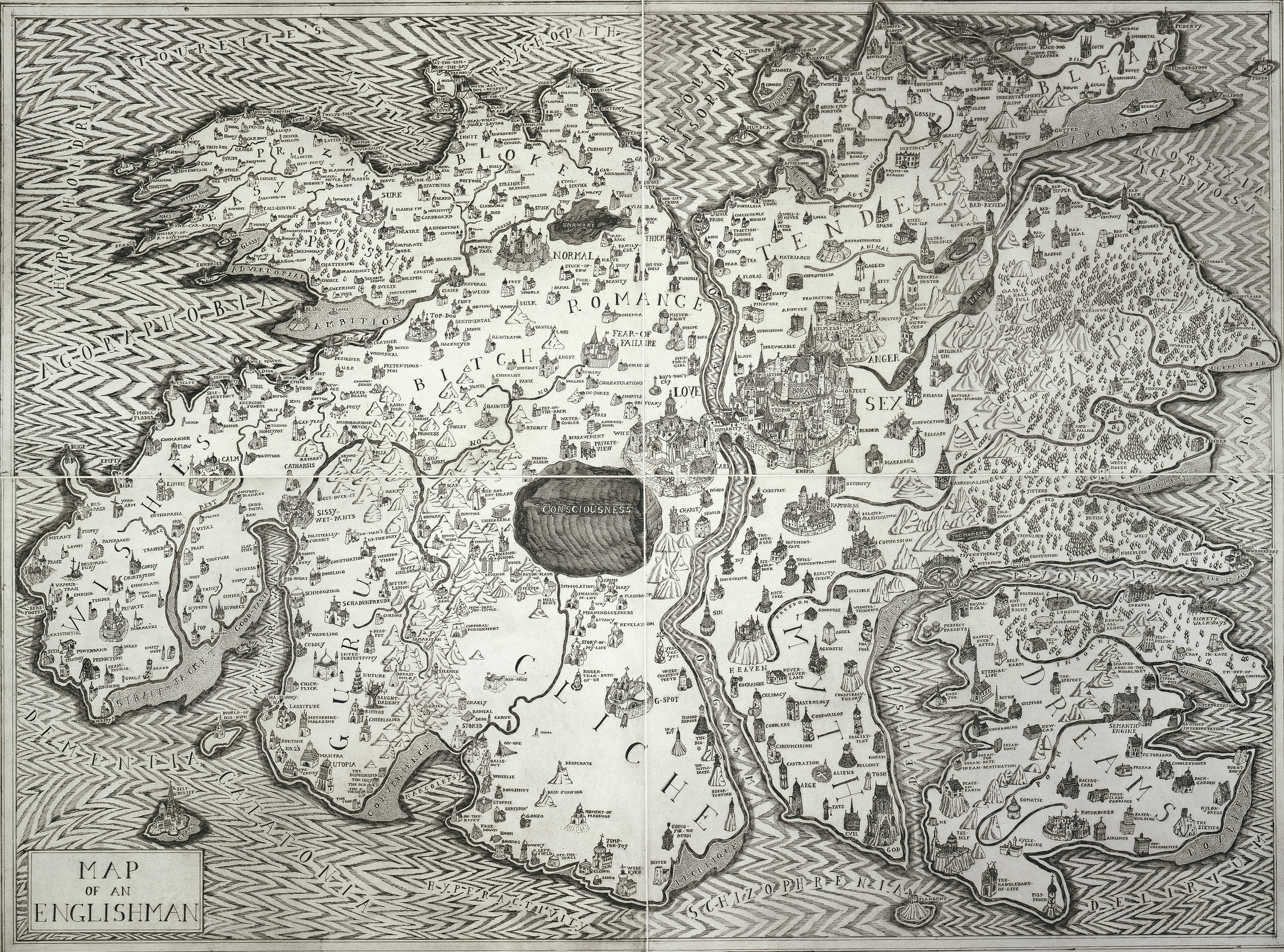 MAP OF AN ENGLISHMAN, ETCHING FROM FOUR PLATES, 112 X 150 CM, 2004