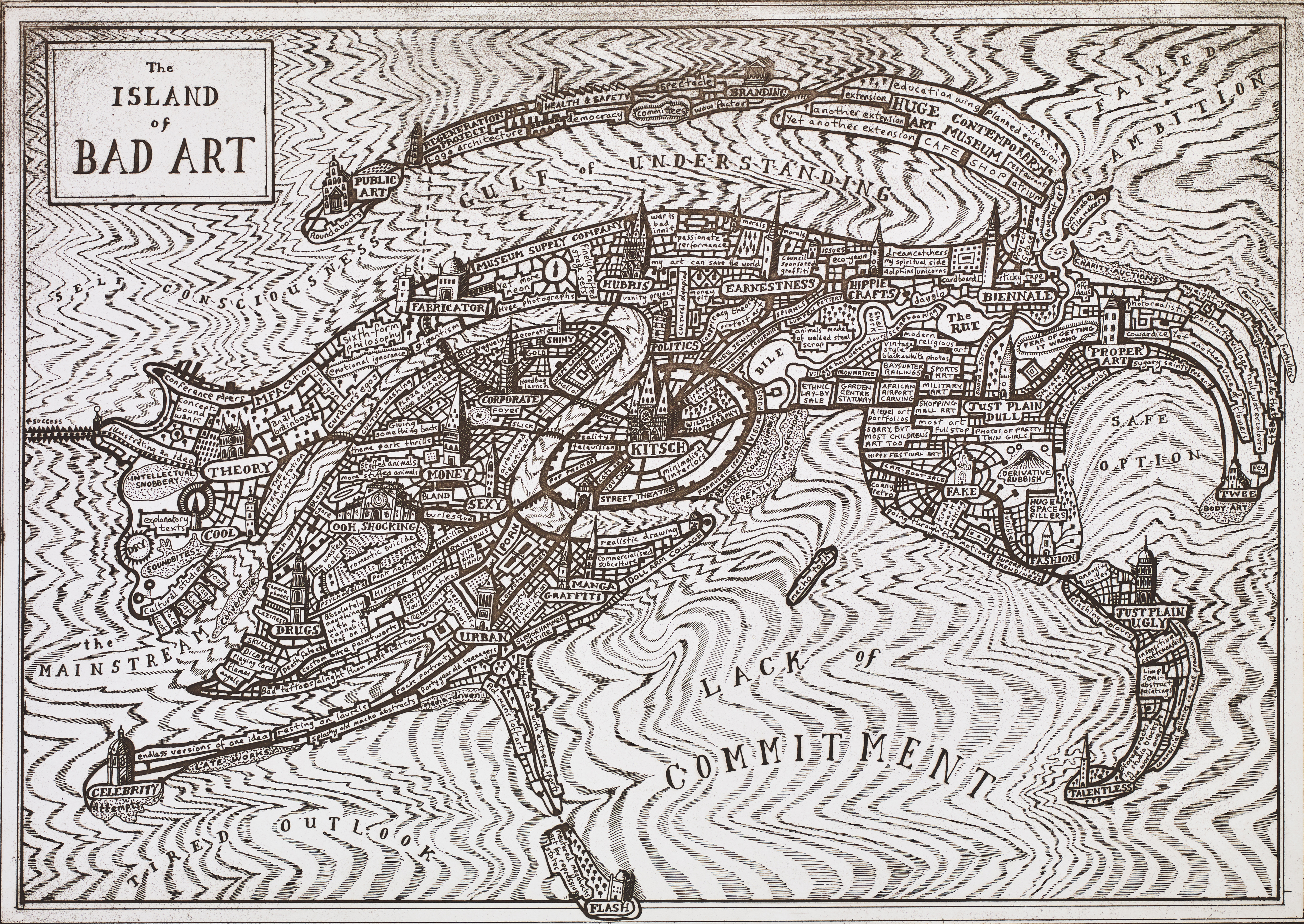 THE ISLAND OF BAD ART, ETCHING PRINTED WITH TONE ON WOVEN PAPER, 41.2 X 23.2 CM, 2013