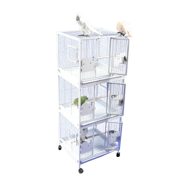 Breeder Bird Cage Triple Stack for 3 Smaller Parrots by AE 2422-3 Platinum