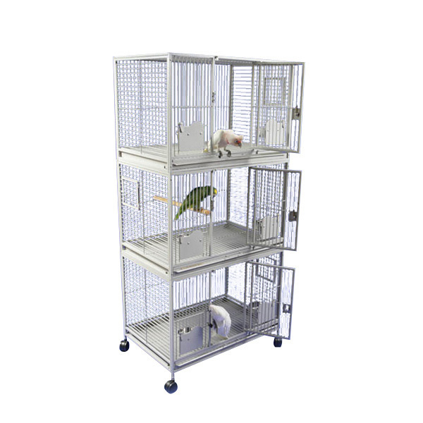 Breeder Bird Cage Triple Stack for 3 Medium Parrots by AE 3624-3 Platinum