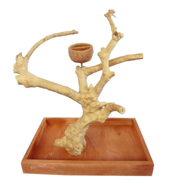 Java Wood Parrot Play Stand Tree Table Top by AE Small 500S