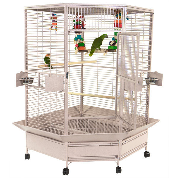 Corner Bird Cage for Large Parrots by AE CC4242 Platinum