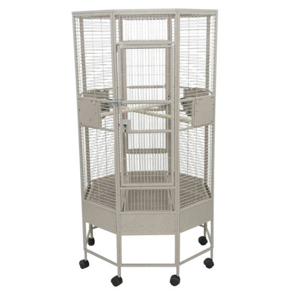 Octagon Shape Parrot Cage for Medium Size Parrots by AE OCT3232 Black