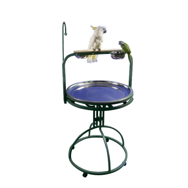 Parrot Play Stand with Toy Hook by AE 5-2828 Platinum