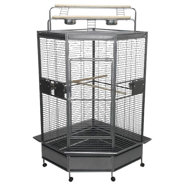 Corner Bird Cage for Larger Parrots by AE CC3232 Black