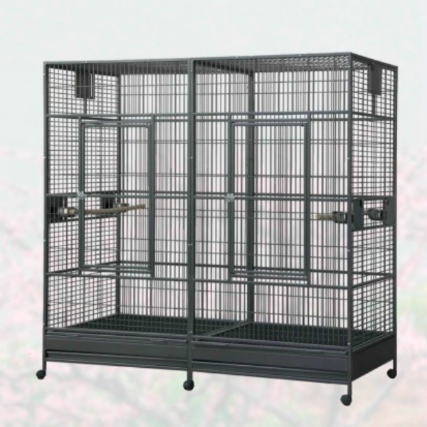 Divided Extra Large Parrot Bird Cage by HQ 18040 Platinum