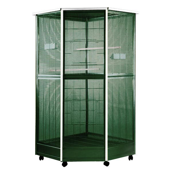 Indoor Aviary Corner Bird Cage AE 100G-1 Green & White