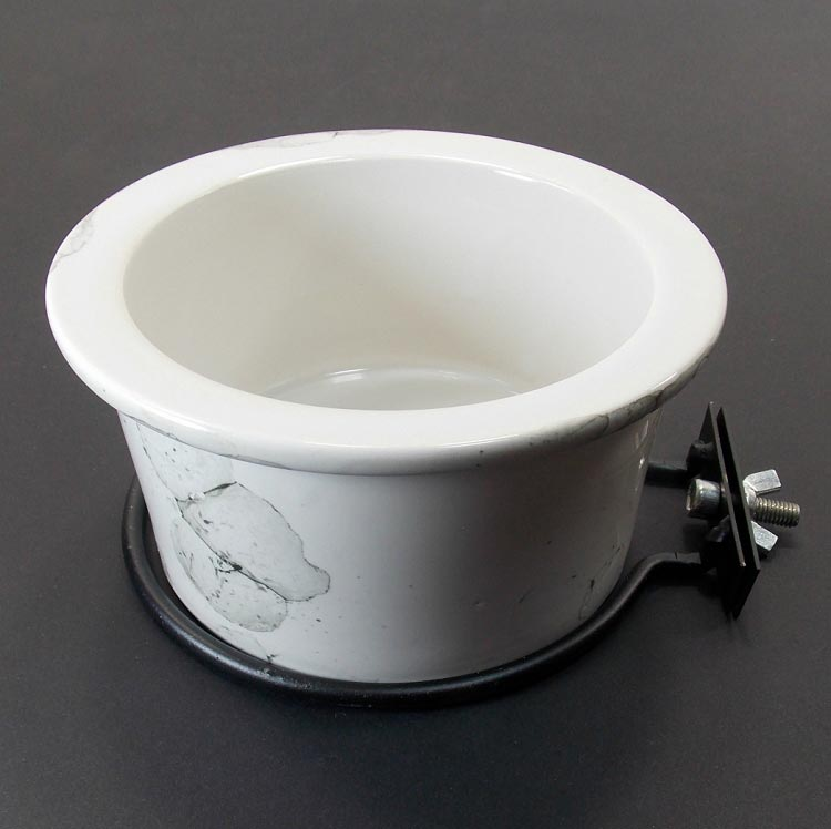 Ceramic Bird Cage Crock And Mounting Ring 24 oz White Marble