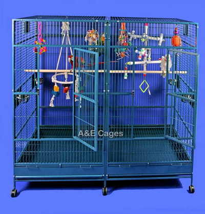 Divided Extra Large Parrot Cage by AE 8040FL Platinum
