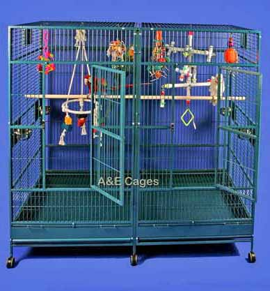 Divided Extra Large Parrot Cage by AE 8040FL Black