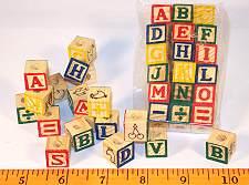 Wood ABC Blocks, Small Set, 18 pc for Bird Toys