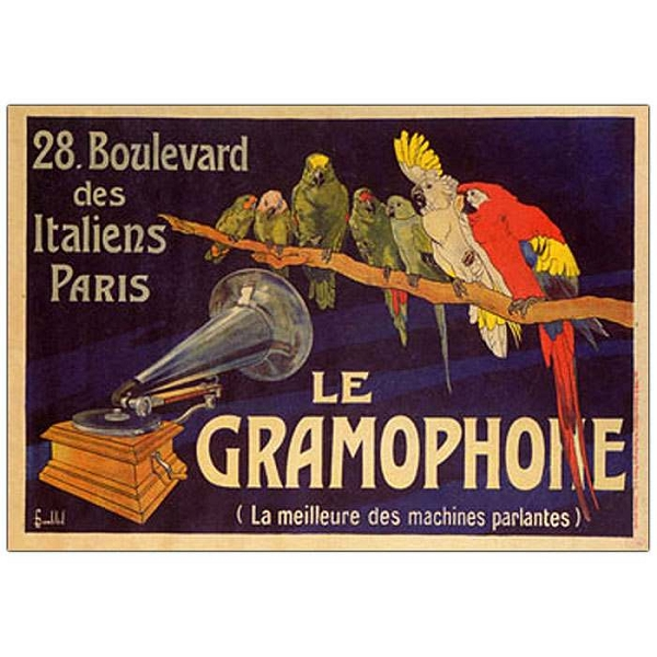 Canvas Parrot Art Le Gramaphone - 24x32